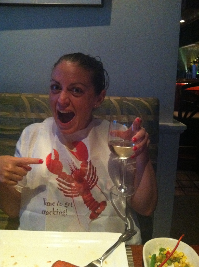 Prepping for 12 miles run Nantucket style! Lobster and wine of course!